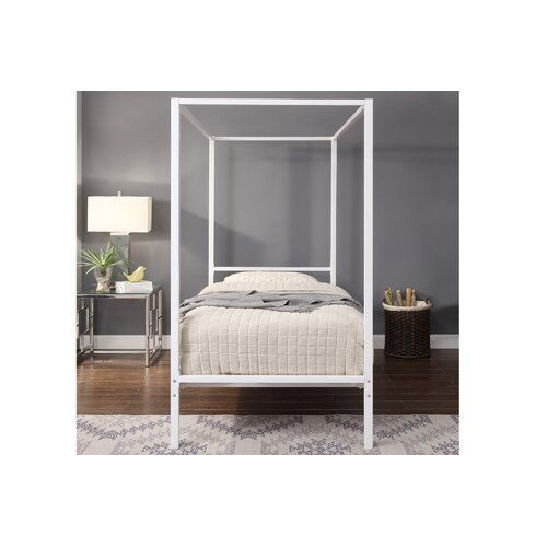 Ebern Designs Keck Double (4'6) Canopy Bed with Mattress   Wayfair.co.uk