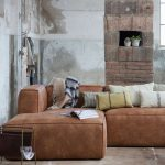 Eckgarnitur BEAN Leder cognac Couch Polster Sofa Ecksofa Longchair links