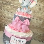 Elephant Diaper Cake in Pink and Gray, Elephant Baby Shower Centerpiece, Pink and Gray Baby Shower Decorations, Little Peanut