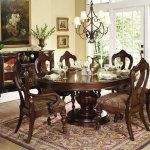 FLORENCE - 7pcs TRADITIONAL TUSCANY ROUND OVAL DINING ROOM TABLE & CHAIRS SET