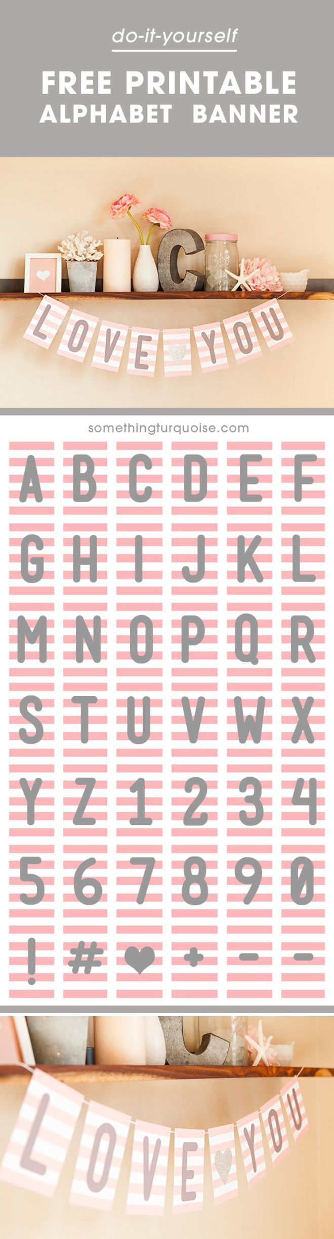 FREE Pink + Gray Printable Alphabet and Number Banner!