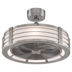 """Fanimation FP7964BN Brushed Nickel Beckwith 23"""" FanSync Compatible Ceiling Fan - Blades, Integrated Drum Light, and Remote Control Included"""
