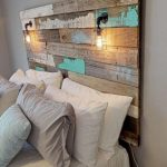 Farmhouse Rustic chippy paint cottage whitewashed grey blue headboard bed distressed wood king queen full twin lights