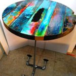 Funky painted round table top, colorful round wood tables, table tops, wall decor, bistro table, painted furniture, rustic, Boho,