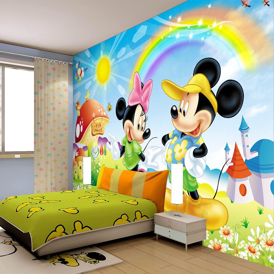 Funny and Beautiful Mickey Mouse Kids Room Designs : Astonishing Light Blue Mick…