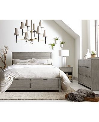 Furniture Tribeca Grey Storage Platform Bedroom Furniture Collection, Created for Macy's & Reviews – Furniture – Macy's