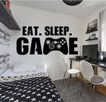 Gamer wall decal Eat Sleep Game wall decal Controller video game wall decals Cus...