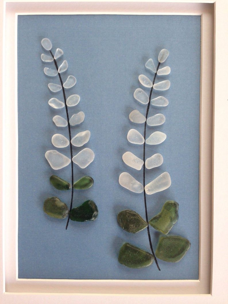 Genuine sea glass art, pebble art, lupine flower, home decor, beach decor, wall art decor, unique gift, wall hanging