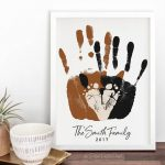 Gift for New Dad, First Father's Day Gift, Baby Footprint & Handprint Art Print, Personalized Family Portrait, 8x10 inches UNFRAMED