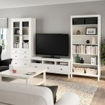 HEMNES TV storage combination - white stain, clear glass - IKEA