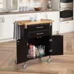HOMESTYLES Dolly Madison Black Kitchen Cart with Natural Wood Top 4508-95 - The Home Depot