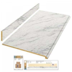 Hampton Bay 8 ft. Laminate Countertop Kit in Calcutta Marble with Valencia Edge-12337KT08N4925 - The Home Depot
