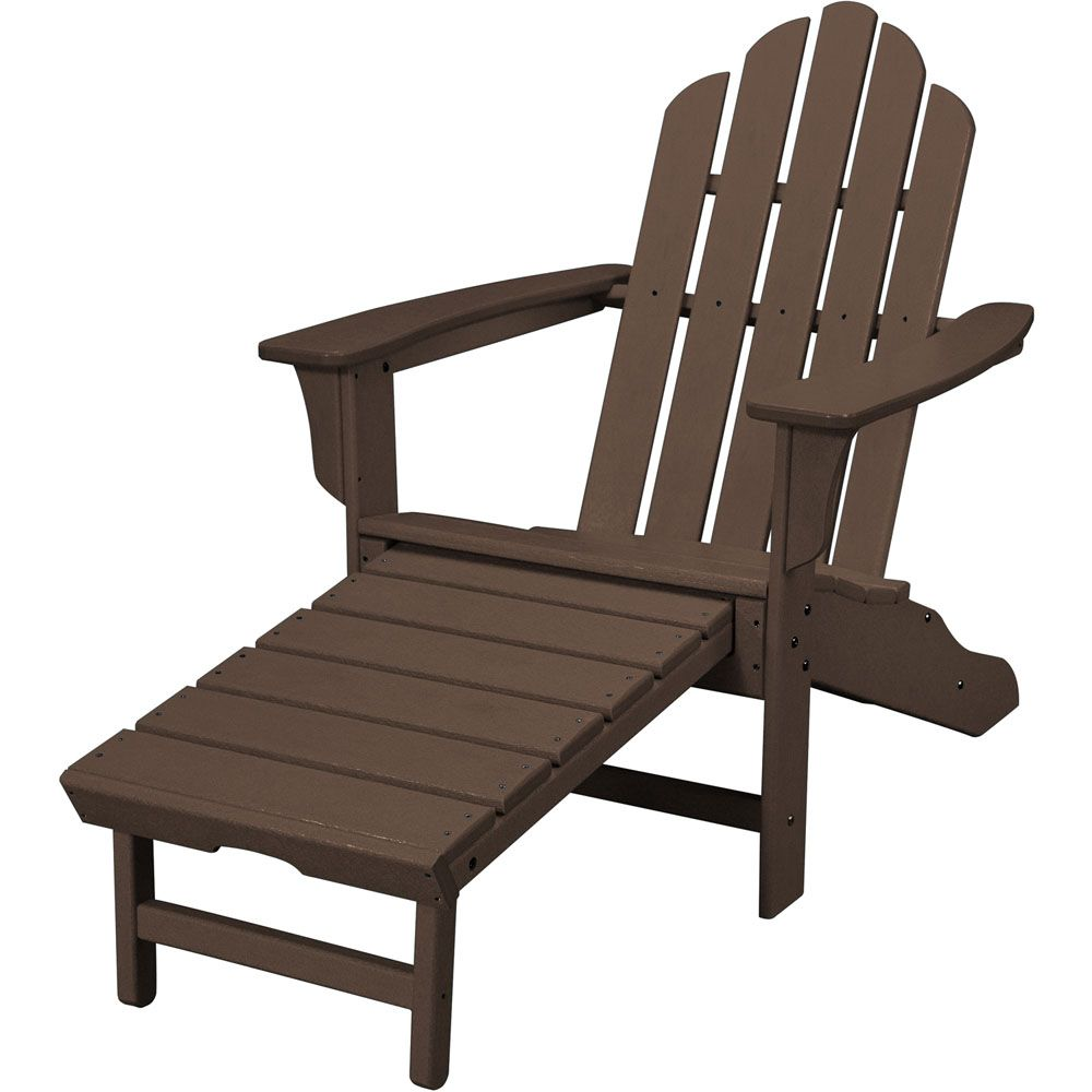 Hanover All-Weather Contoured Adirondack Chair with Hideaway Ottoman- Mahogany, HVLNA15MA