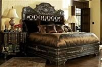 High end master bedroom set Carvings and tufted Live like a King luxury furnish