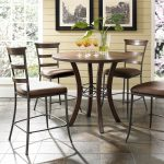 Hillsdale Cameron 5 Piece Counter Height Round Wood Dining Table Set with Ladder...