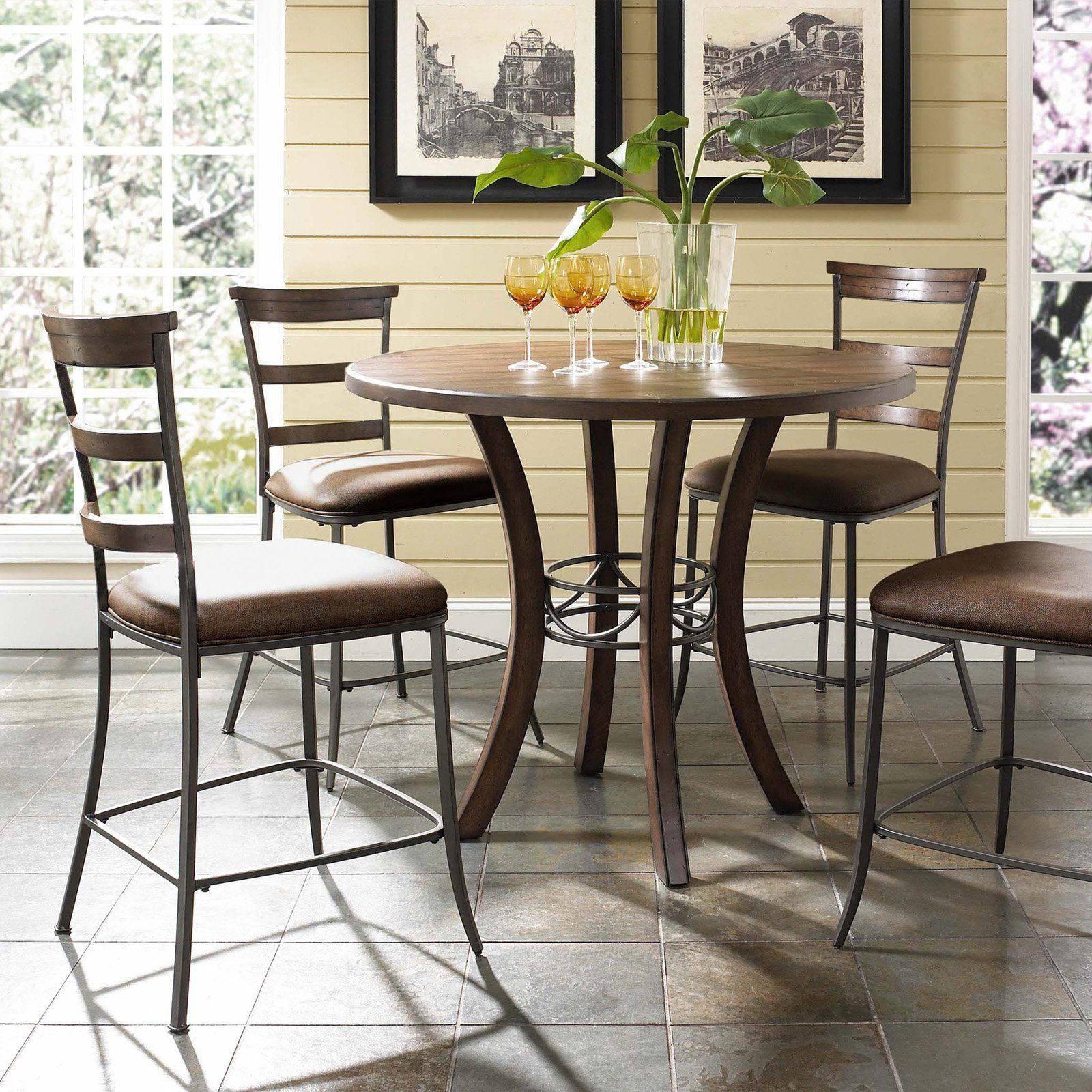 Hillsdale Cameron 5 Piece Counter Height Round Wood Dining Table Set with Ladder…