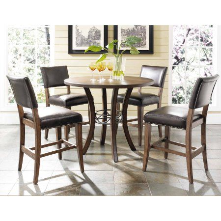 Hillsdale Furniture Cameron 5-Piece Counter Height Round Wood Dining Set with Parson Stool – Walmart.com