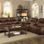 Homelegance 8200BRW-2pc 2 pc Mahala brown top grain leather match power reclining sofa and love seat set