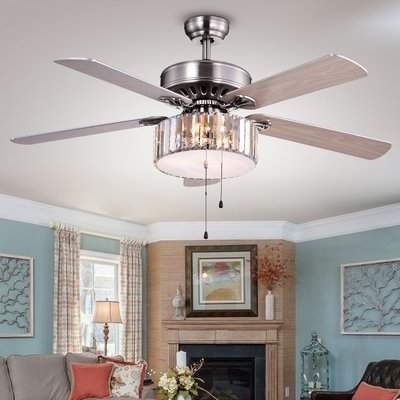 House of Hampton 52″ Dixie Crystal 5 Blade Ceiling Fan with Remote, Light Kit Included   Wayfair