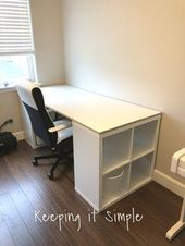 Ikea Hack- DIY Computer Desk with Kallax Shelves,  #Computer #Desk #DIY #furniturediydesk #HA…