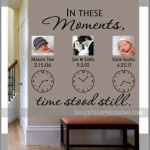 In These Moments Time Stood Still * Personalized Wall Decal * Family Wall Decal * Clock Wall Decal * Vinyl Lettering * Custom Wall Decal