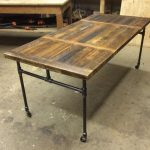 Items similar to Expanding Dining Table with Cast Iron Pipe Legs on Etsy