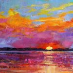 Items similar to Palette knife oil painting Original gift for Colorful sky painting Original oil Set of 3 wall art decor Sunset bright Art purple yellow Blue on Etsy