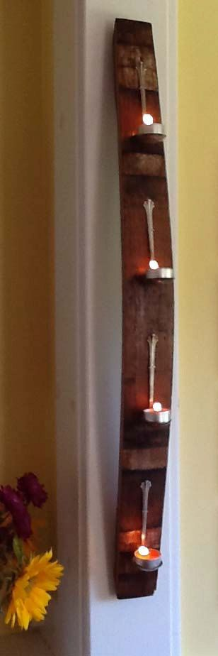 Items similar to Reclaimed Wine Barrel Stave – Spoon Candle Holder on Etsy