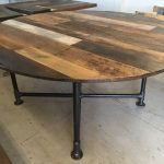 Items similar to Round dining table, reclaimed wood table /industrial pipe base on Etsy
