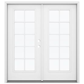 JELD-WEN Tempered External Grilles Primed Fiberglass Left-Hand Inswing French Patio Door (Common: 72-in x 80-in; Actual: 71.5-in x 79.5625-in) at Lowes.com