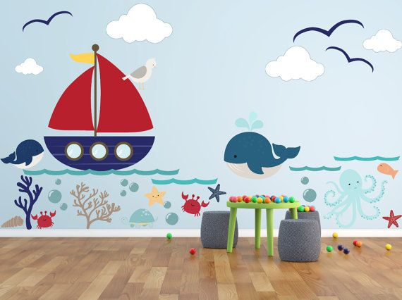 Kids Wall Decals – Underwater world, Seahorse , Seahorses, sea life Wall decal Wall Sticker- Large – Girls Wall Decal Kids Wall Decal
