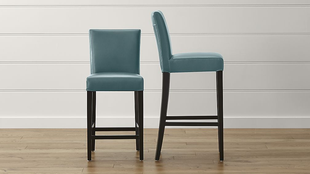 Lowe Ocean Leather Bar Stools | Crate and Barrel