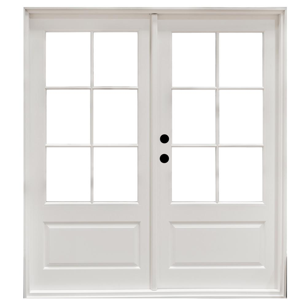 MP Doors 72 in. x 80 in. Fiberglass Smooth White Right-Hand Outswing Hinged 3/4-Lite Patio Door with 6-Lite SDL-HT6068R3QD6 – The Home Depot