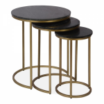 Madison Nesting Side Tables, Black Marble Top, Brass