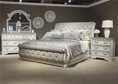 Magnolia Manor Upholstered Sleigh Bed 6 Piece Bedroom Set in Antique White Finish by Liberty Furniture – 244-BR-QSLUS