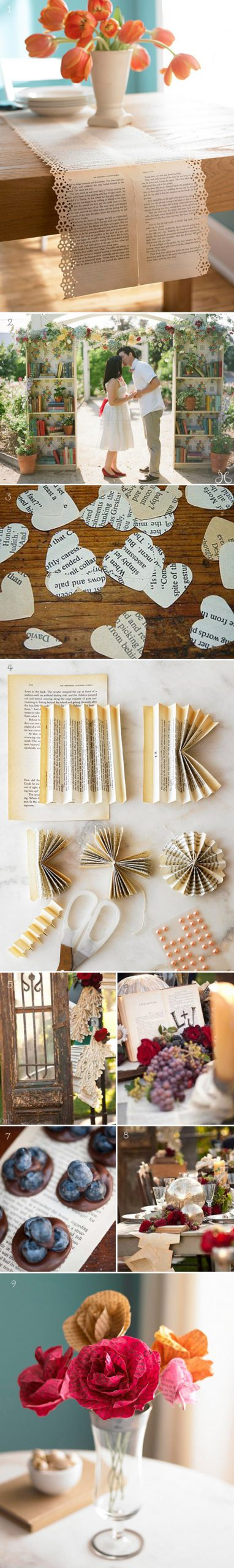 Minus the actual bookcases some cool ways to incorporate recycled book pages sin…