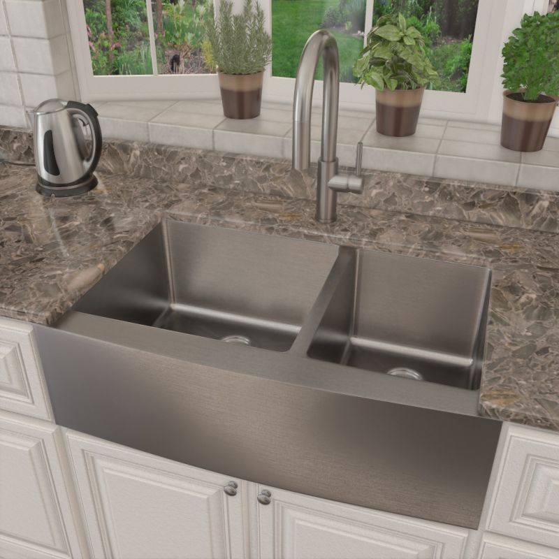 Miseno MSS3320F6040/MK191-SS Stainless Steel Faucet 32-7/8″ Farmhouse Double Bowl Stainless Steel 16 Gauge Kitchen Sink with Pull-Out Spray Kitchen Faucet
