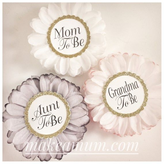 Modern Grey Pink White  Baby Shower Corsage, PERSONALIZED Baby Shower Favors, HAND-DYED Mommy To be Pin, Baby Shower Decor, set of 3