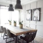 Modern farmhouse dining table with black base and natural upper ... - #base #BLA...