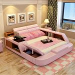 Modern leather queen size storage bed frame with storage bookcase cabinets stool no mattress bedroom furniture sets b02q - Pinpon