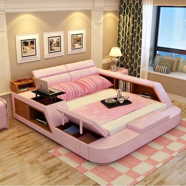 Modern leather queen size storage bed frame with storage bookcase cabinets stool no mattress bedroom furniture sets b02q – Pinpon