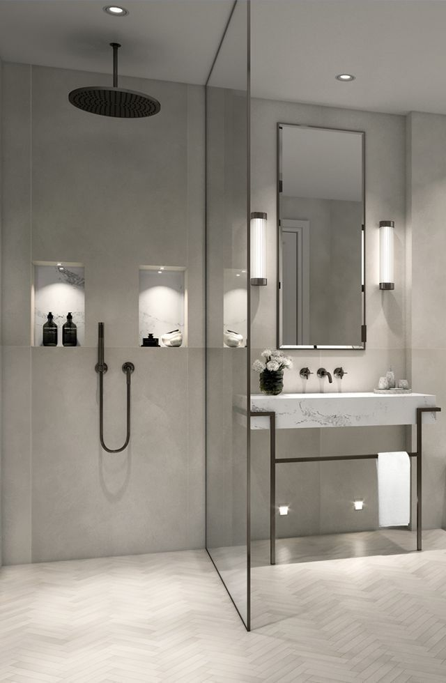 Modern minimalist bathroom with walk-in shower