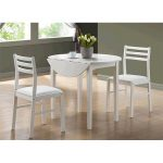 Monarch Specialties I 1008 White 3Pcs Dining Set With A 36 in.Dia Drop Leaf Table