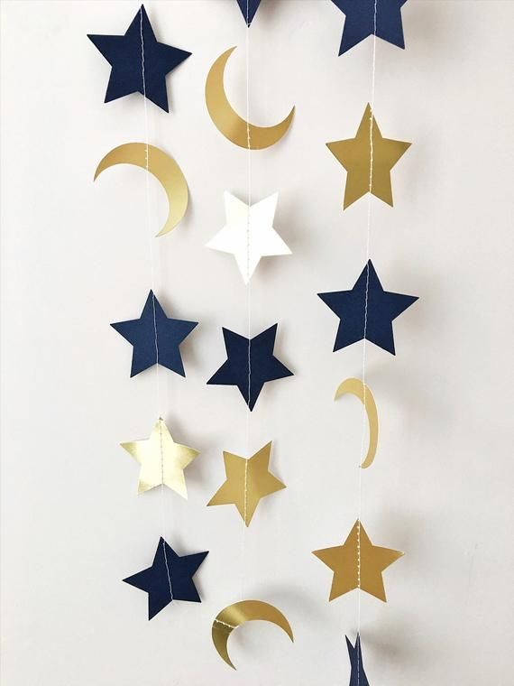 Moon Star Garland Navy Blue Gold Moon Star Baby Shower Decorations Little Star 1st Birthday Garland Love You to the Moon and Back Nursery