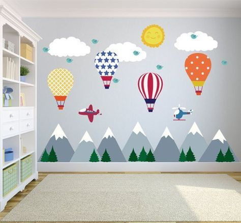 Mountain Wall Decals Hot Air Balloons, Wall Decals Nursery, Kids Wall Decals, Modern, Baby, Nursery Wall Decal, REMOVABLE and REUSABLE