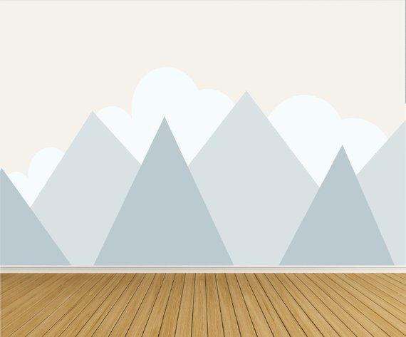 Mountains Wall Decal Clouds Baby Room Wall Decor Kids Mountain Decals Blue Mountains-e215