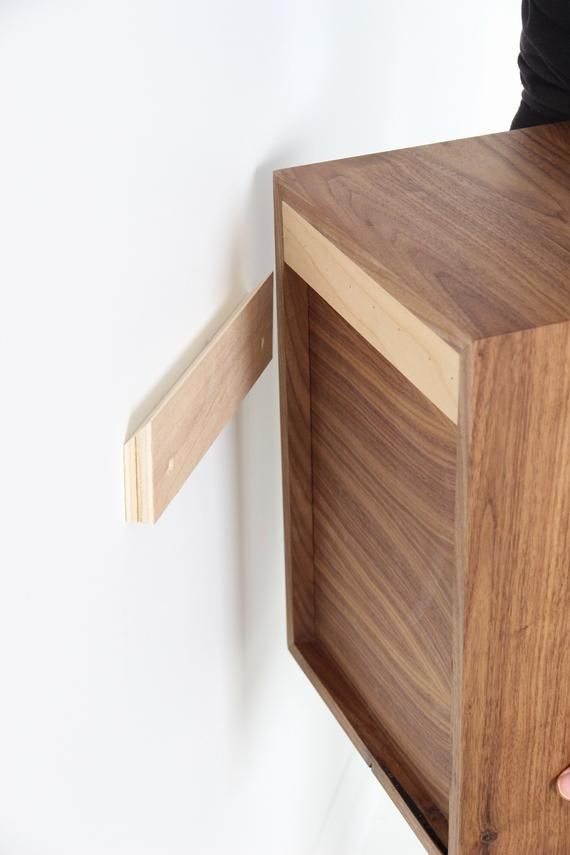 Narrow Floating Nightstand with 1, 2 or 3 Drawers in Walnut / Mid Century Modern Bedside Table