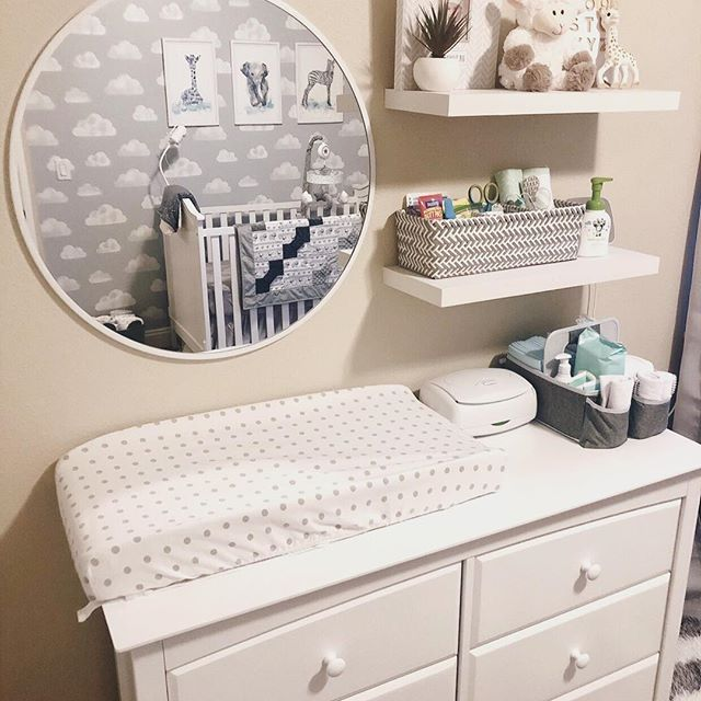 Neutral Baby Nursery – chest of drawers with changing table