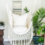 Off White Macrame Hammock Chair - 2 Pillow SET - Boho style hammock -  Cotton Canvas hammock swing chair - Indoor and Outdoor Hanging Chair