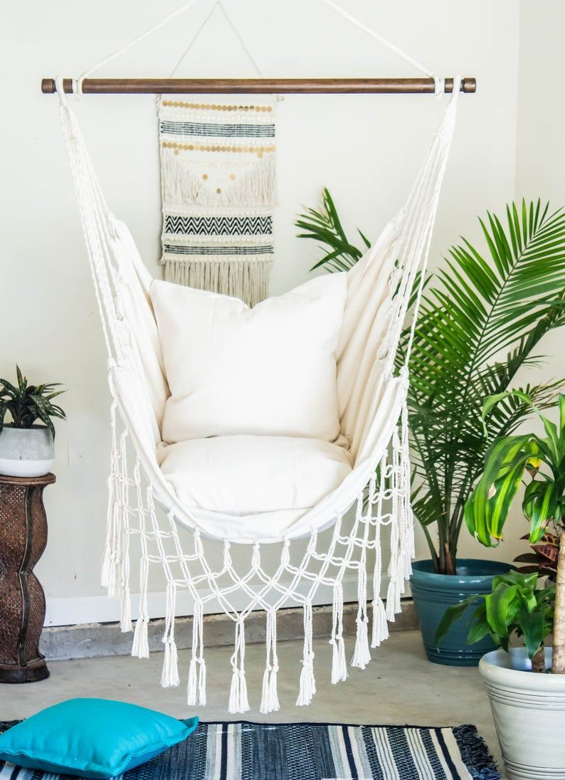 Off White Macrame Hammock Chair – 2 Pillow SET – Boho style hammock –  Cotton Canvas hammock swing chair – Indoor and Outdoor Hanging Chair